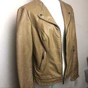 Blanc Noir Faux Tan Leather Moto Jacket